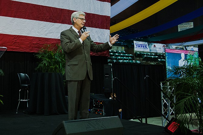Gov. Phil Bryant told reporters after speaking at Hobnob Mississippi that he supports putting the state flag on the ballot next year. Photo by Stephen Wilson