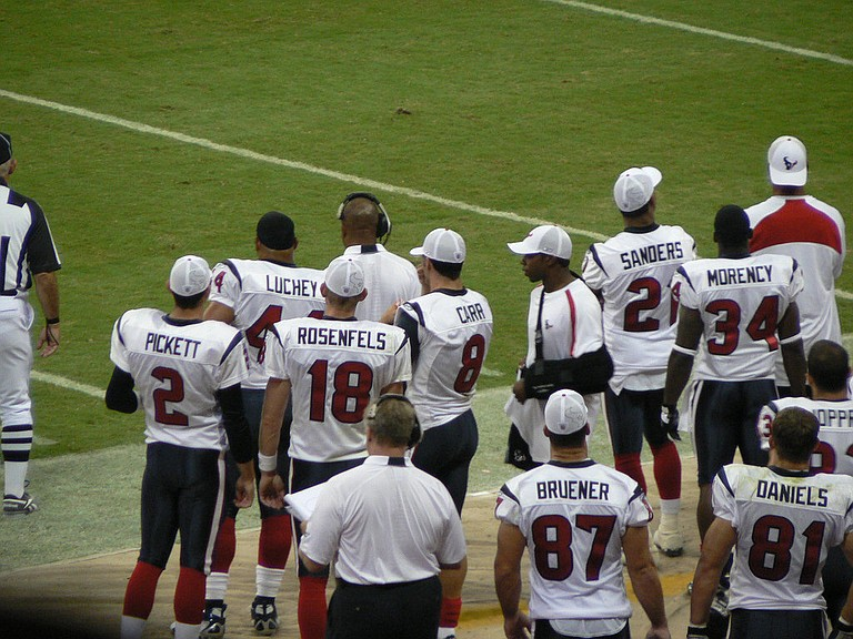 "All but 10 members of the Houston Texans took a knee during the national anthem Sunday, as the vast majority of the team protested the owner's ""inmates running the prison"" comment. Photo courtesy Flickr/Rick Kimpel"