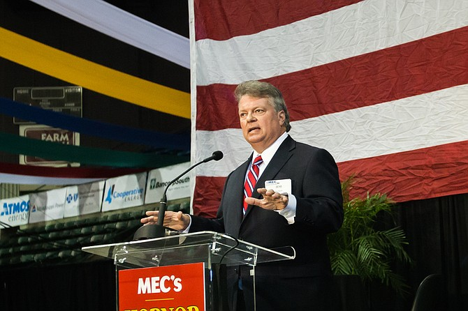 Attorney General Jim Hood spoke out against the Legislature's inaction on transportation funding at the MEC annual Hobnob Mississippi event last week. Photo courtesy Stephen Wilson