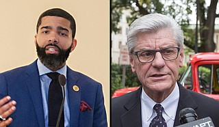 Mayor Chokwe Antar Lumumba and Gov. Phil Bryant announced the 15-member Better Together Commission, which will control the hiring of a contractor, community listening sessions and completing a study of Jackson Public Schools. Photo by Stephen WIlson and Imani Khayyam