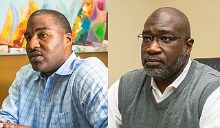 The polls are open to fill the seat for the Hinds County attorney, who is the lead prosecutor in youth court and also prosecutes other misdemeanors throughout the county. Two of the three candidates, Gerald Mumford (left) and Malcolm Harrison (right), are pictured here. Photo by Stephen Wilson