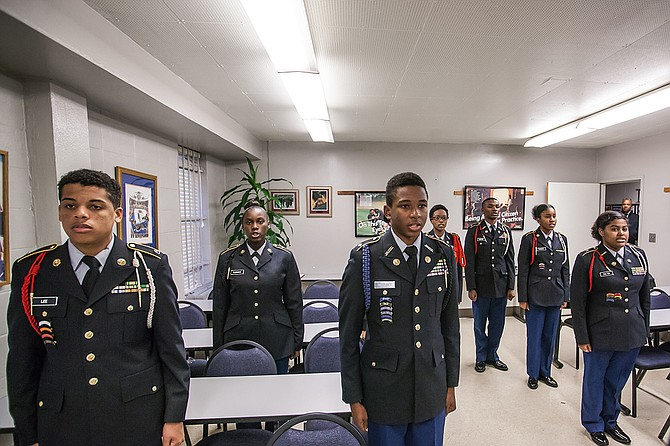 A group of Jackson Public Schools JROTC cadets demonstrated drills at the JROTC headquarters in northwest Jackson last week.