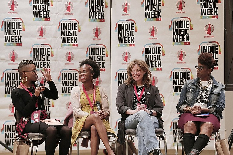"""From left: Moderator Amanda Furdge, Teneia Sanders-Eichelberger, Sherry Cothren and Tawanna Shaunte were the guest speakers for the """"Women in Music"""" panel discussion at last year's Jackson Indie Music Week."""