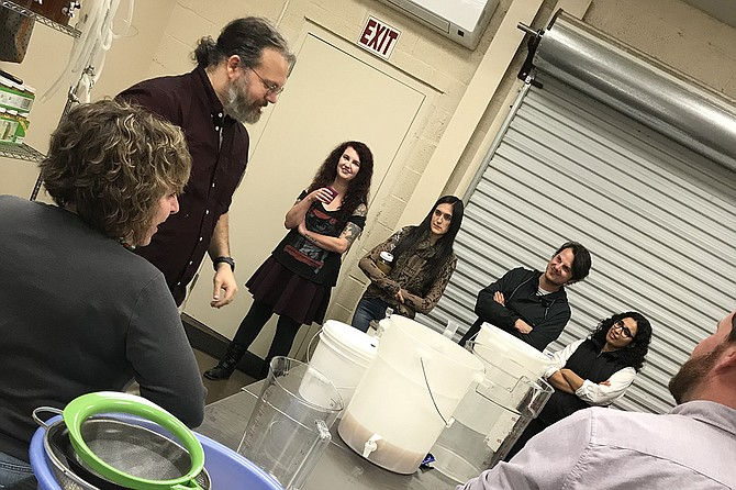 Patrick Jerome talks to participants about wine-making and fermentation at a workshop on Dec. 13, 2017, at Sweet & Sauer in The Hatch. Photo by Julie Noone
