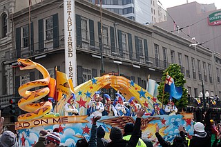 Rex, New Orleans' oldest parading Carnival group, is celebrating the tricentennial with 21 of its 28 floats commemorating its history from those who lived in the area before Europeans settled it in 1718 to the Battle of New Orleans in 1815. Photo courtesy Flickr/Mike Connor