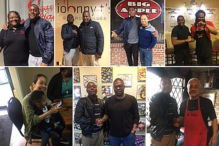 (From top left to bottom right) While in Jackson, Navalon app creator Kreskin Torres met with Glenda Barner of Sugar's Place, John Tierre of Johnny T's Bistro & Blues, Geno Lee of Big Apple Inn, chef Mike Mosley of 1693 Red Zone Grill, Thuong Hoang of Pho Huong, chef Nick Wallace and Tyrone Bully of Bully's Restaurant. Photo courtesy Alivia Townsend