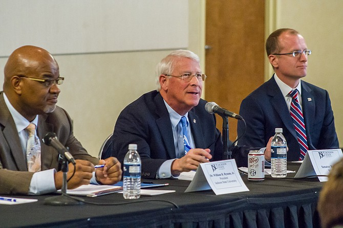 U.S. Sen. Roger Wicker hosted a technology roundtable at Jackson State University with JSU President William Bynum, F.C.C. Commissioner Brendan Carr and two dozen industry professionals on Feb. 19.