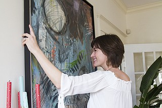 Abstract artist Elizabeth Fowler often creates her pieces in her backyard in Belhaven.