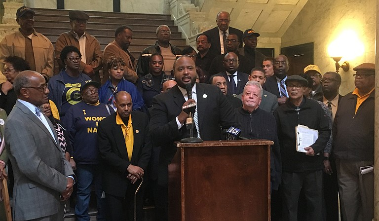Corey Wiggins, the executive director of the Mississippi NAACP, called on lawmakers to work to restore voting rights for the more than 218,000 Mississippians who are disenfranchised, at a press conference at the Capitol this session.