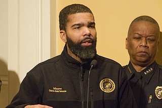 Police say five officer-involved shootings have occurred since Mayor Chokwe Antar Lumumba took office in July 2017. The Jackson Free Press counts seven in that timeframe as of March 1. Lumumba is pictured here alongside Interim Jackson Police Chief Anthony Moore at a press conference on Jan. 19, 2018.