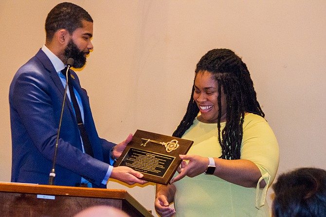 Mayor Chokwe A. Lumumba presented best-selling author Angie Thomas with a key to the city at a Jackson City Council meeting on Feb. 27, 2018.