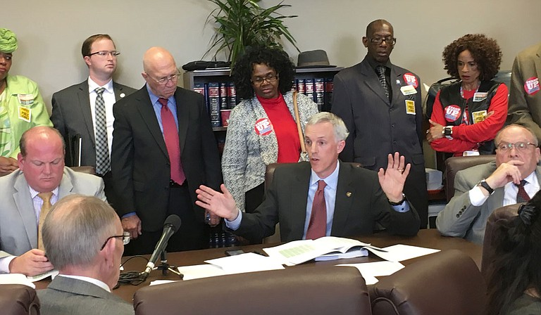 Sen. David Blount, D-Jackson, (center) spoke against the Uniform Per Student Funding Formula proposal in the Senate Education Committee in February, debunking the idea that the bill has been available to the public for a year.