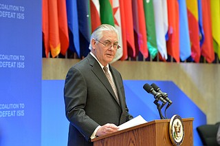 The State Department said Rex Tillerson (pictured) only learned of his termination when he read Trump's tweet on Tuesday morning. Two senior department officials said Tillerson received a call from John Kelly, Trump's chief of staff, on Friday, but was only told that there might be a presidential tweet that would concern him. Photo courtesy Flickr/State Department
