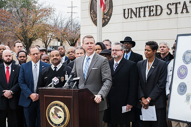 U.S.  Attorney Mike Hurst announced Project EJECT (Empower Jackson Expel Crime Together) on Dec. 7, 2018, with then-Jackson Police Chief to his right and Christopher Freeze, Special Agent in Charge of the FBI in Jackson, to his left.