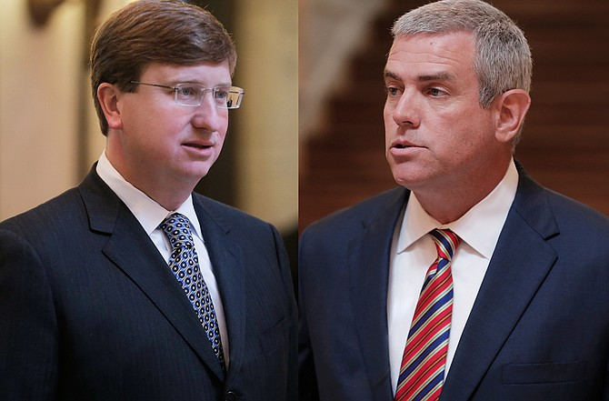 "House Speaker Philip Gunn (right) said efforts to increase funding for state infrastructure is dead, one day ahead of the deadline; Lt. Gov. Tate Reeves (left) said the two chambers could not come to an agreement on certain ""sticking points."" File"