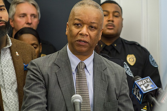 Interim Police Chief Anthony Moore implemented a downtown foot-patrol unit effective April 2, 2018, to foster positive policing relationships and offer prompt police assistance when necessary. He is pictured here at a previous press conference.