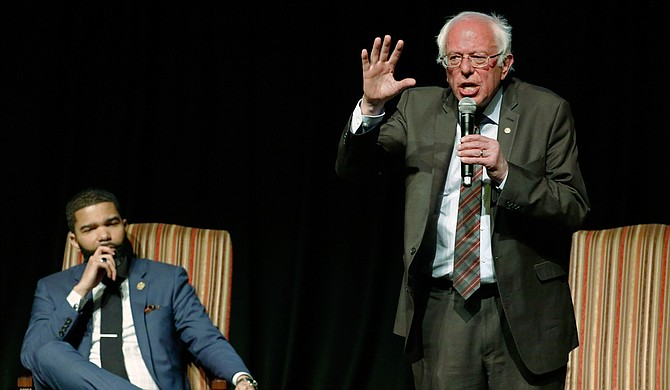 U.S. Sen. Bernie Sanders came to Jackson to have a conversation with Mayor Chokwe Antar Lumumba about economic justice 50 years after Dr. Martin Luther King Jr was assassinated. Photo courtesy AP/Rogelio V. Solis