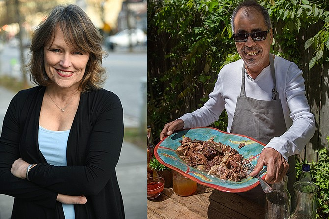 "Eddie Hernandez (right) recently published ""Turnip Greens & Tortillas,"" which features his southern food-meets-Mexican recipes, with writer Susan Puckett (left). Photo courtesy Eddie Hernandez"