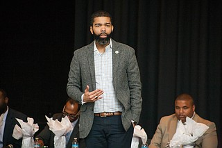 """At a """"Man to Man"""" panel at Bailey APAC Middle School, Mayor Chokwe Antar Lumumba and a panel of city leaders and professionals talked to the seventh- and eighth-grade boys about the importance of education and staying on track on April 13, 2018."""