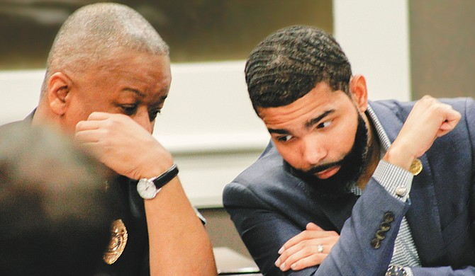 The City of Jackson will host a Crime and Justice Summit Thursday, April 19, at 6 p.m. at the Jackson Convention Complex. Mayor Chokwe Antar Lumumba (left) and Jackson Police Department Interim Chief Anthony Moore are pictured at the City's first officer-identification task-force meeting on April 11.