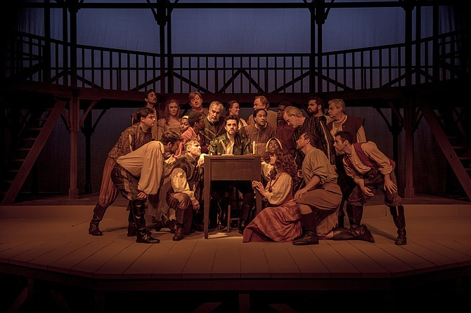 "In New Stage Theatre's production of ""Shakespeare in Love,"" Hunter Hoffman (front center) stars as budding playwright William Shakespeare, who falls in love with Viola de Lesseps, the daughter of a wealthy merchant."