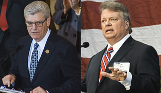 Attorney General Jim Hood (right) and Gov. Phil Bryant (left) boast the best approval ratings in the Millsaps College and Chism Strategies Survey released earlier this month.