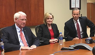 Sen. John Thune (right) from South Dakota joined U.S. Sens. Roger Wicker (left) and Cindy Hyde-Smith (center) on Tuesday, May 1, in Ridgeland. Thune came down to campaign for Wicker who is in a primary election June 5 for his seat.