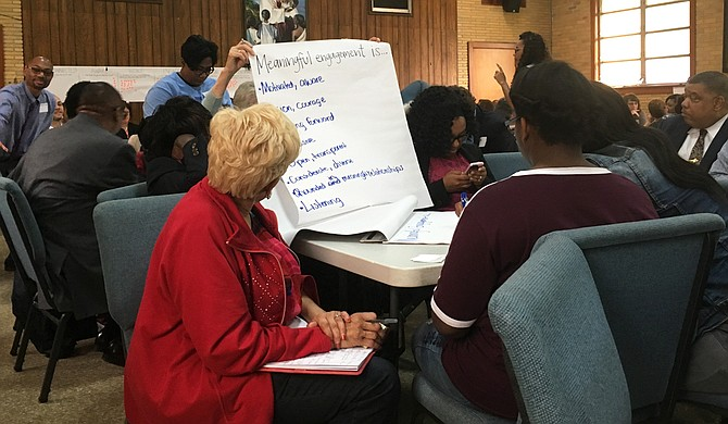 Nearly 100 people gathered at the Pearl Street AME Church on April 26 to brainstorm what community engagement will look like for the Better Together Commission's work to study Jackson Public Schools.