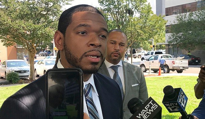 Jason Downs, a Baltimore lawyer who represented the family of Freddie Gray, called a press conference on May 14, 2018, to demand more transparency from the Jackson government on behalf of the family of Crystalline Barnes, 21, who died in an an officer-involved shooting.