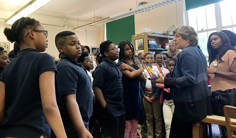 Randi Weingarten, the president of the American Federation for Teachers (right), visited Davis Magnet Elementary School (soon to be renamed after Barack Obama) last week. She also spoke to a group of AFT-affiliated teachers in Jackson.