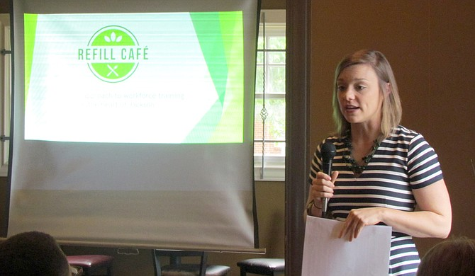 Refill Cafe Project Leader Jordan Butler presented at Friday Forum on May 25 at the former Koinonia Coffee House.
