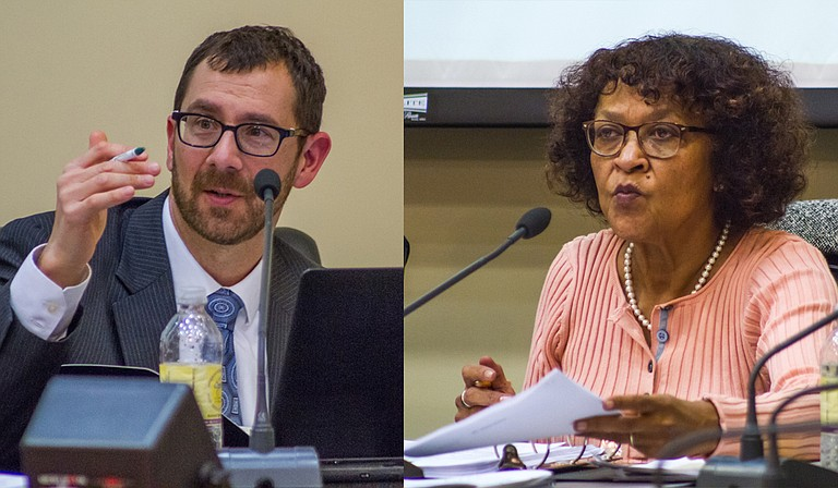 JPS Board President Jeanne Hairston (right) and Vice President Ed Sivak (left) explained the district's need to have a bond referendum to city council members last week in a work session. Jacksonians will vote in August.