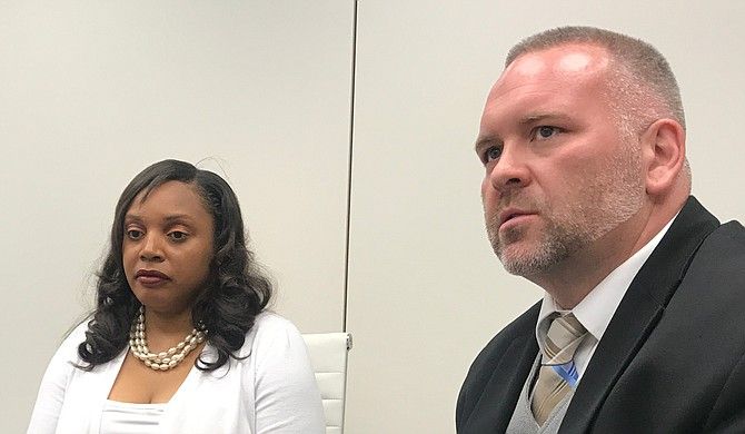 Pelahatchie Mayor Ryshonda Harper Beechem and her lawyer Thomas Bellinder held a press conference May 23 to discuss the state auditor's demand for the town to repay $500,000.