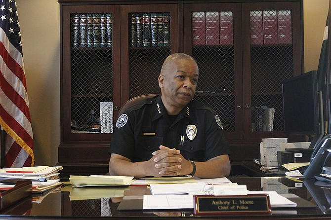 In an interview, Interim Police Chief Anthony Moore talked about securing body cameras and working on community policing.