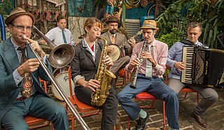 "Panorama Jazz Band features clarinetist Ben Schenck (middle right), saxophonist Aurora Nealand (middle left), accordionist Matt Schreiber (right) and a rotating lineup. The group performs June 16 for a ""Thacker Mountain Radio Hour"" event."