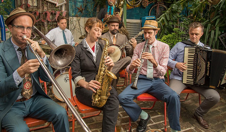 """Panorama Jazz Band features clarinetist Ben Schenck (middle right), saxophonist Aurora Nealand (middle left), accordionist Matt Schreiber (right) and a rotating lineup. The group performs June 16 for a """"Thacker Mountain Radio Hour"""" event."""