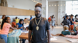 Local mixed-media artist Shambé Jones led a group of 100 sixth-graders in a T-shirt design class at Jackson State University's Johnson Hall on Thursday, June 21, as part of JSU's four-week art program, the Summer Art Institute.
