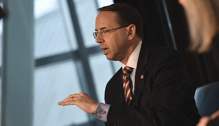 A group of 11 House conservatives introduced articles of impeachment against Deputy Attorney General Rod Rosenstein (pictured), the Justice Department official who oversees special counsel Robert Mueller's Russia investigation.