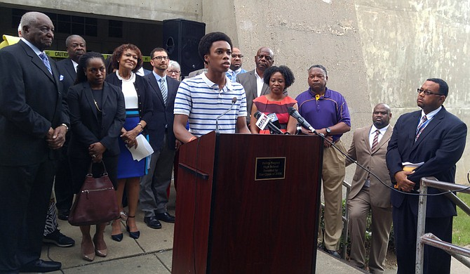 Jackson Public Schools student Joseph Jiles spoke at a press conference in support of the bond referendum on Aug. 7.
