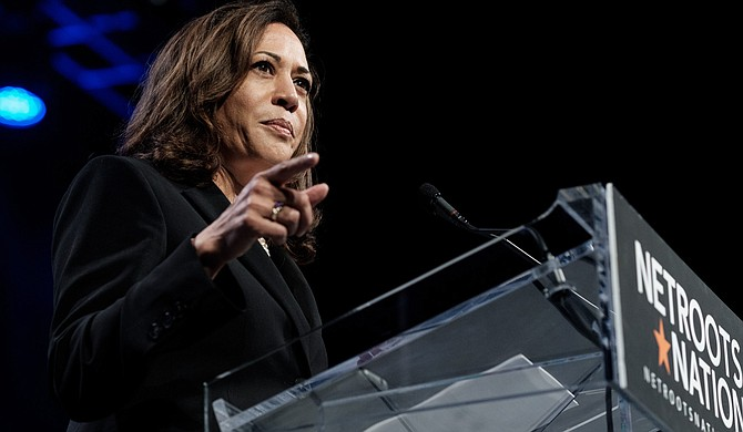 U.S. Sen. Kamala Harris, D-Calif., speaks at Netroots Nation—a yearly gathering of liberal and progressive bloggers, activists, and politicians—in New Orleans on Aug. 3, 2018.