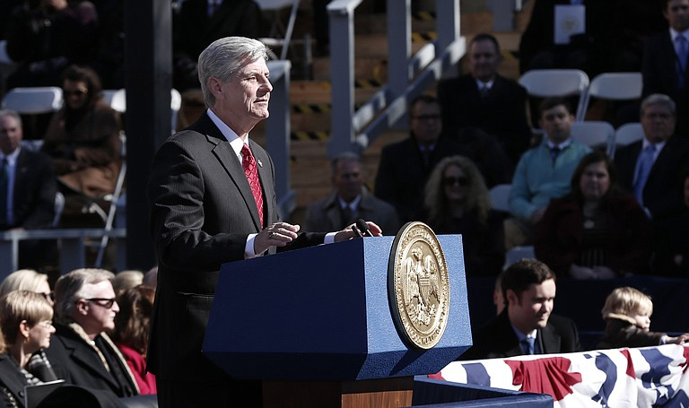 """""""We are here to serve American democracy despite any elected official's (such as Gov. Phil Bryant, pictured) open disdain for it. We are not the 'enemy of the people'—we are the enemy of lies and corruption."""""""