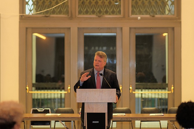 "At the ""She is Running"" forum at Thalia Mara Hall on Aug. 29, 2018, Attorney General Jim Hood said he has made up his mind to run for governor—pending his wife's approval."