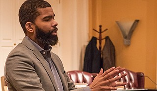 At a press conference on Tuesday, Sept. 4, Mayor Chokwe Antar Lumumba expressed a mixed reaction to the recent special legislative session during which Jackson received $50,000 to repair a bridge on Sherwood Drive and Robin Drive in Fondren. He is pictured here at City Hall in July 2018.