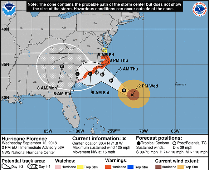 Closing in with terrifying winds of 125 mph (205 kph) and potentially catastrophic rain and storm surge, Florence is expected to blow ashore Saturday morning along the North Carolina-South Carolina line, the National Hurricane Center said.