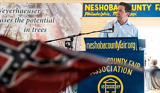 """Mississippi State Sen. Chris McDaniel, a U.S. Senate candidate, drew boos from the crowd after he said black Mississippians have been """"relying on big government to save you"""" for 100 years during a taping of MSNBC's Morning Joe in Oxford, Miss. on Sept. 14, 2018. Here, McDaniel speaks at the Neshoba County Fair."""