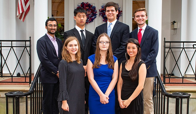 The 2018 cohort of Stamps Scholars at UM: (front row, from left) Grace Dragna, Grace Marion and Valerie Quach, and (back row) Shahbaz Gul, Jeffrey Wang, Gregory Vance and Richard Springer.
