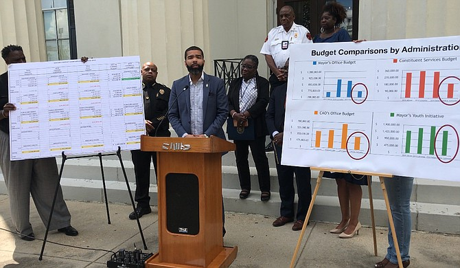 Mayor Chokwe A. Lumumba's second budget went into effect on Oct. 1, 2018. He is pictured here at a press conference about the budget on Aug. 31, 2018.