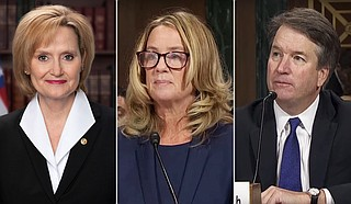 U.S. Sen. Cindy Hyde-Smith (left), R-MS, voted to advance the nomination of Judge Brett Kavanaugh (right) to the U.S. Supreme Court on Friday, despite allegations of sexual misconduct by multiple women, including Christine Blasey Ford (center). Photo courtesy United States Senate