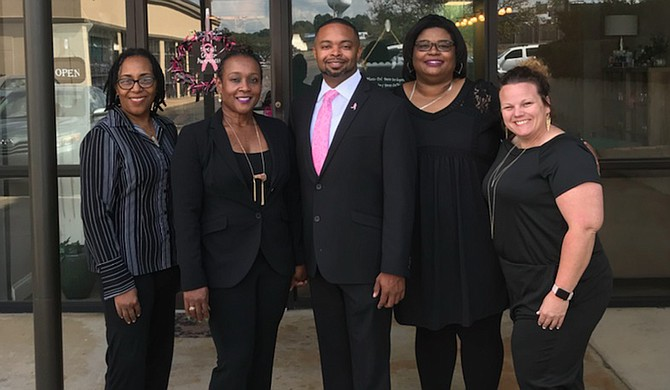 Left to right: The Nail Bar and Spa Marketing Director Kathy McMurtry; Co-owner Vicky Pilkington; Co-owner Marcus Thomas; Salon Manager Dana Harper; Aesthetics Director Laine Magee Photo courtesy The Nail Bar and Spa