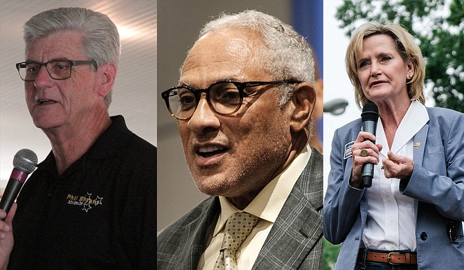 Mississippi leaders, including Gov. Phil Bryant (left), U.S. Senate candidate Mike Espy (center) and U.S. Sen. Cindy Hyde-Smith (right), condemned efforts from an unknown perpetrator to send bombs to high-profile Democrats.